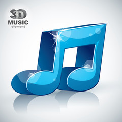 Trendy blue musical note 3d modern style icon isolated.