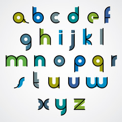 Colorful funny binary cartoon font with rounded lower case lette