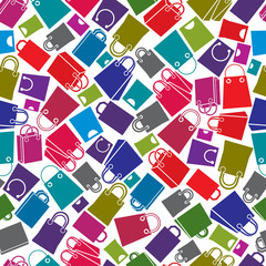 Shopping bags seamless background, vector icon set, elements eas