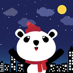 Panda in the city at night