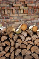 Holz, Wand, Mauer, Stein, Kaminholz