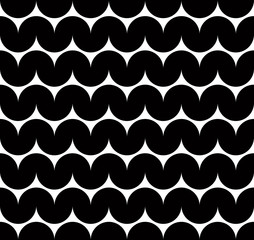 Black and white abstract seamless pattern, contrast wavy regular