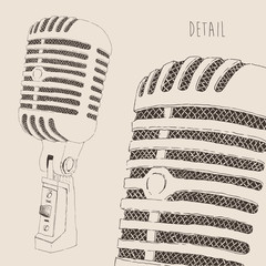 studio microphone vintage illustration, engraved style