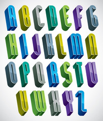 3d colorful letters tall alphabet made with round shapes.