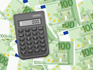calculator on one hundred euro background
