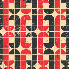 Vintage red and black geometric seamless pattern, vector abstrac