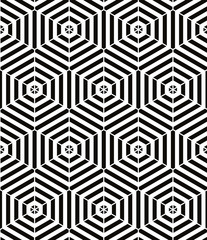 Monochrome vector geometric abstract seamless pattern.