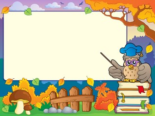 Autumn frame with owl teacher 1