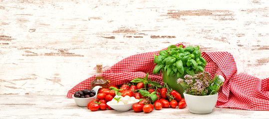 tomatoes, basil, herbs, mozzarella and olive oil. food backgroun