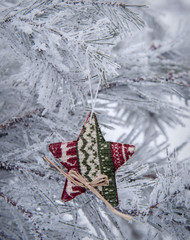 Beautiful snow-covered pine branch with Christmas toy