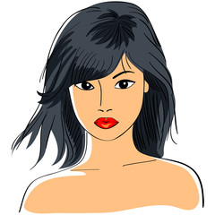 vector Asian girl