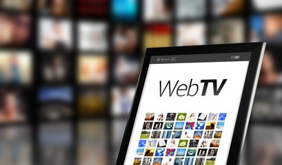 Web TV concept, tablet with many icons