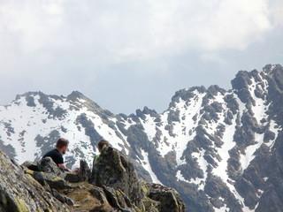 On the top of Svinica peak in High Tatras,Slovakia/Poland