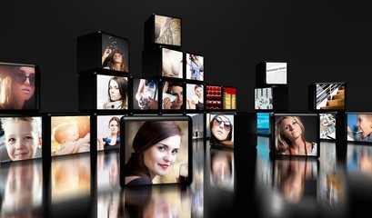 Television screens on black with copy space