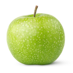 Ripe green apples isolated on a white with clipping path