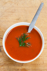 A bowl of delicious tomato soup