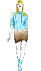vector fashion blond girl in a blue and brown leather suit