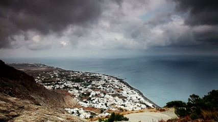 Clouds over Kamari, Santorini, Greece. Timelapse