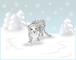 Cartoon white leopard in winter