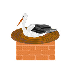 Stork and nest on a brick chimney vector illustration
