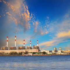 Thermal Power Plant beside river side location use for industry