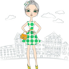 Vector beautiful fashion girl top model in the city