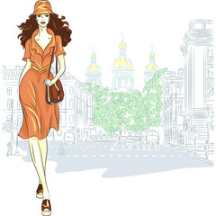 Vector lovely fashion girl goes for St. Petersburg