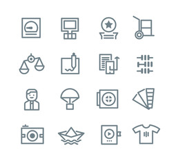 Printing industry icons in outline modern style for web, mobile