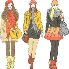 Vector fashion stylish girls in warm clothes