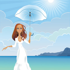 vector girl with an umbrella by the sea