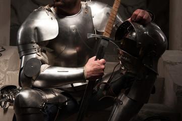 Closeup portrait of medieval armor