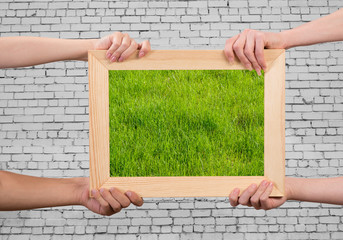 Frame with grass