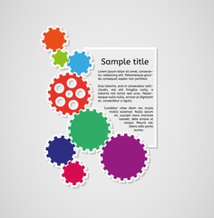 cogwheels and sample text infographics