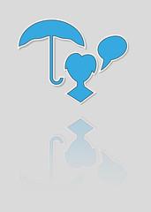 blue silhouette speak bubble