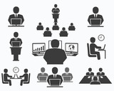 Fototapety Business people. Office icons, conference, computer work