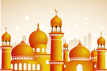 Arabic mosque on shiny light background. Ramadan Kareem