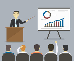 Businessman gives a presentation or seminar. Business meeting, t