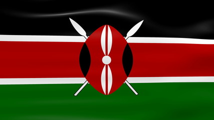 Waving Kenya Flag, ready for seamless loop.
