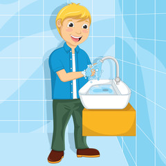 Vector Illustration Of A Little Boy Washing Hands