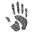 handprint with fingerprint pattern
