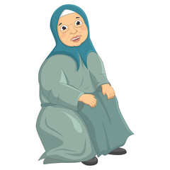 Old Muslim Woman Siting Vector Illustration