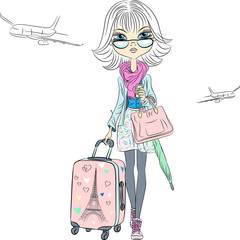 Vector beautiful fashion girl travels the world