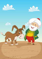 Old Man With Donkey Vector Illustration