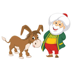 Isolated Old Man With Donkey Vector Illustration