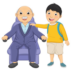Kid and Old Man Vector Illustration