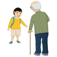 Vector Illustration Of Kid and Old Man