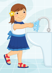 Vector Illustration Of A Girl Washing Hands