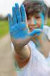 Blaue Hand