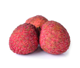 fresh lychees on white background
