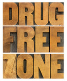 drug free zone in wood type poster